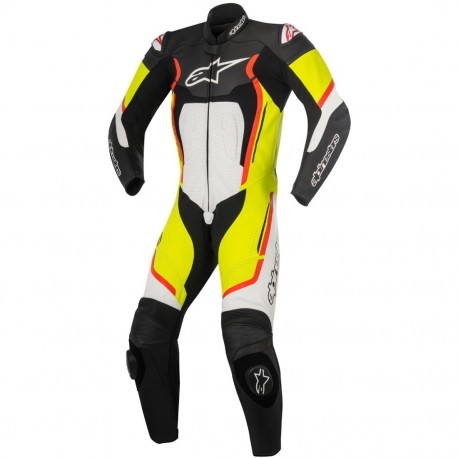 Motegi V2 1Pcs Leather Suit  Black/White/Yellow Fluo/Red Fluo