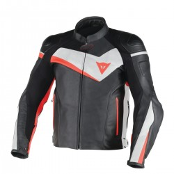 Veloster Leather Jacket Black/White/Fluo Red