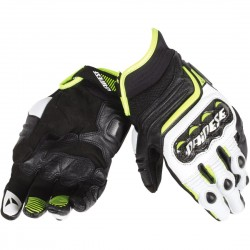 Carbon D1 Short Gloves Black/White/Fluo Yellow