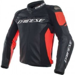 Racing 3 Jacket Leather Black Fluo Red