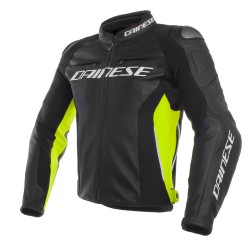 Racing 3 Jacket Leather Black White Yellow