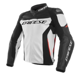 Racing 3 Jacket Leather White Red Black