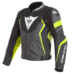 Avro 4 Leather Jacket Black Gray Yellow