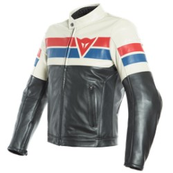 8-Track Leather Jacket Black Ice Red