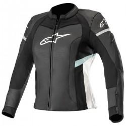 Stella Kira Leather  Jacket Black White Teal