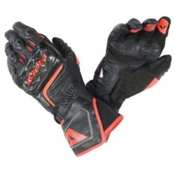 Carbon D1 Long Gloves Black-Fluo Red