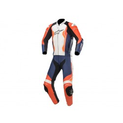 Gp Force Leather Suit Red Fl Black White Orange