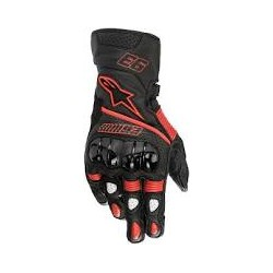 Twin Ring Leather Glove Black-Red