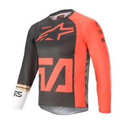 Youth Racer Compass Jersey Antracite Red Fl White