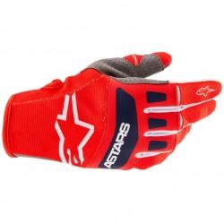 Techstar Gloves Bright Red White Dark Blue
