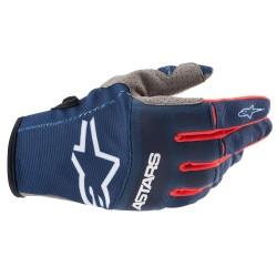 Techstar Gloves Dark Blue Bright Red White