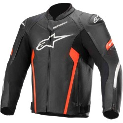 Faster V2 Leather Jacket Black Red