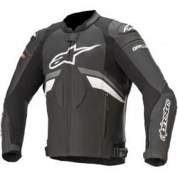 GP Plus R V3 Leather Jacket  Black Dark Grey White