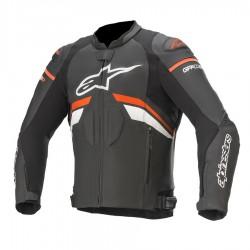 Gp plus r v3 leather jacket black red fluo white